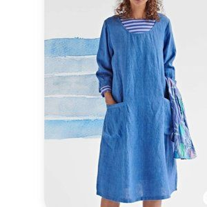 Gudrun Sjoden Linen Lagenlook Dress Pockets XL NWT